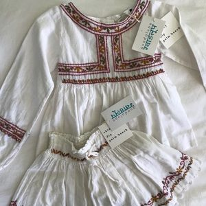 Guadalupe Design blouse and skirt, size 2T NWT